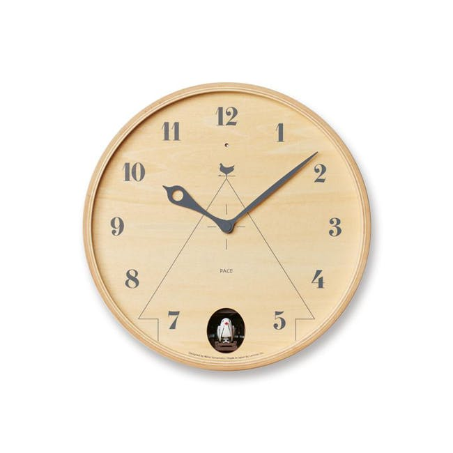 Pace M Size Wall Clock - Natural Wood - 0