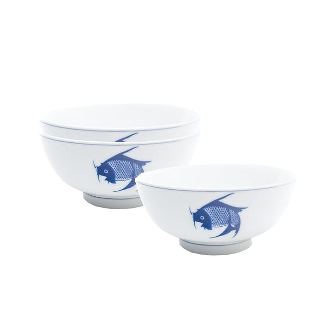 Blue Carp Steep Bowl (Set of 3) - 0
