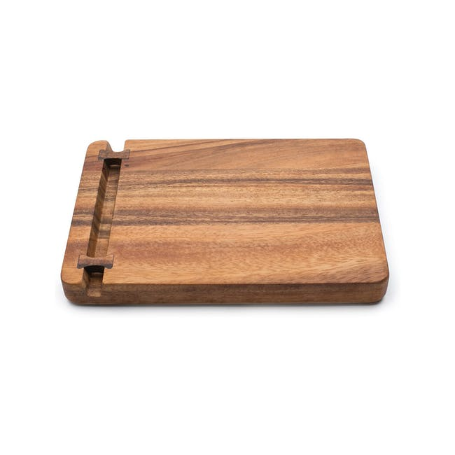 Ironwood Cutting Cheese Acacia Board With Small Knife Holder - 0