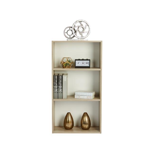 Hitoshi 3-Tier Bookshelf - Natural, White - 1
