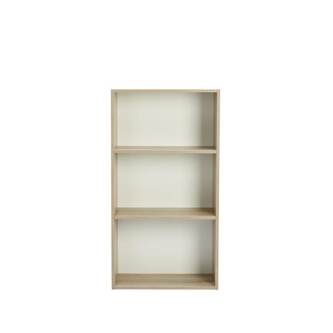 Hitoshi 3-Tier Bookshelf - Natural, White - 0