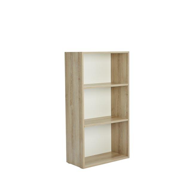 Hitoshi 3-Tier Bookshelf - Natural, White - 2