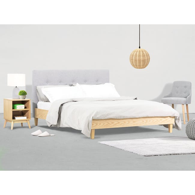 Landon Queen Bed with 2 Kyoto Bottom Drawer Bedside Table in Oak - 1