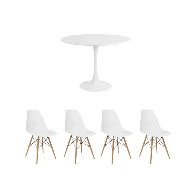 Carmen Round Dining Table 1m with 4 DSW Chair - White - 0
