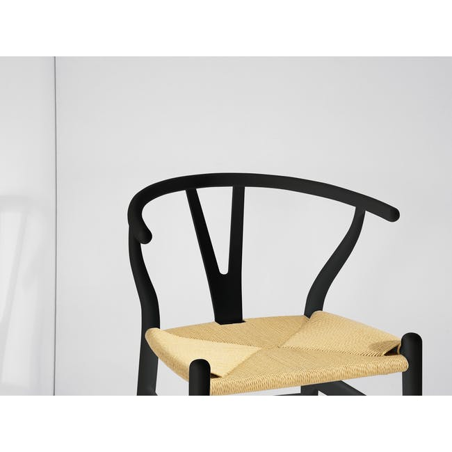 Tyrus Dining Table 2m with 4 Wishbone Chair Replica in Black, Natural Cord - 6