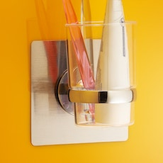 Chrome Toothbrush & Cup Holder