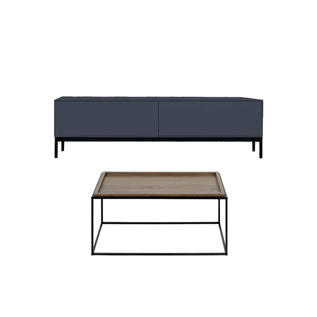 Lamont TV Console 1.2m in Grey with Dana Rectangular Coffee Table in Walnut - 0