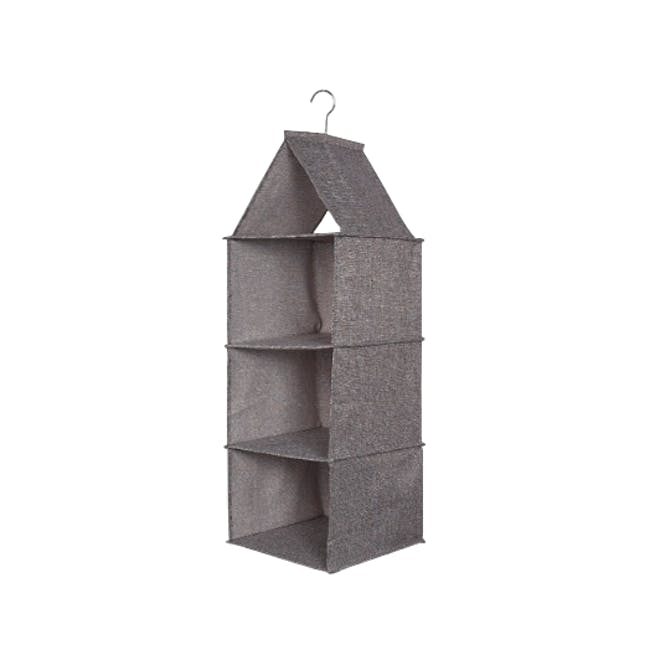 Cindy 3-Tier Hanging Wardrobe Organiser - Grey - 0