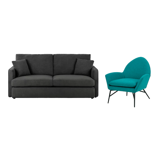 Ashley 3 Seater Sofa In Granite And Esther Lounge Chair In Nile