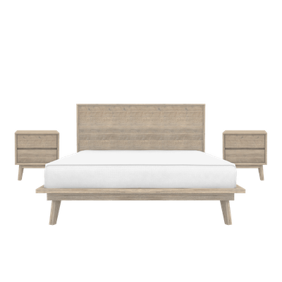 Leland Queen Platform Bed with 2 Leland Twin Drawer Bedside Tables - Image 1