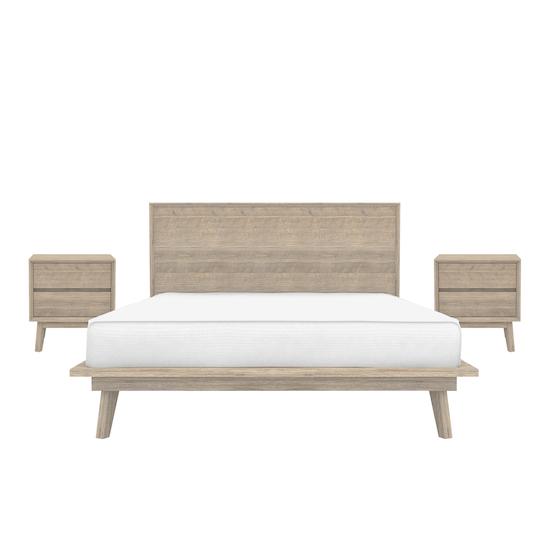 HipVan Bundles - Leland Queen Platform Bed with 2 Leland Twin Drawer Bedside Tables