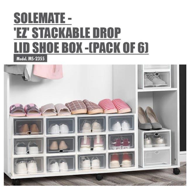 SoleMate 'EZ' Stackable Drop Lid Shoe Box (Pack of 6) - 1