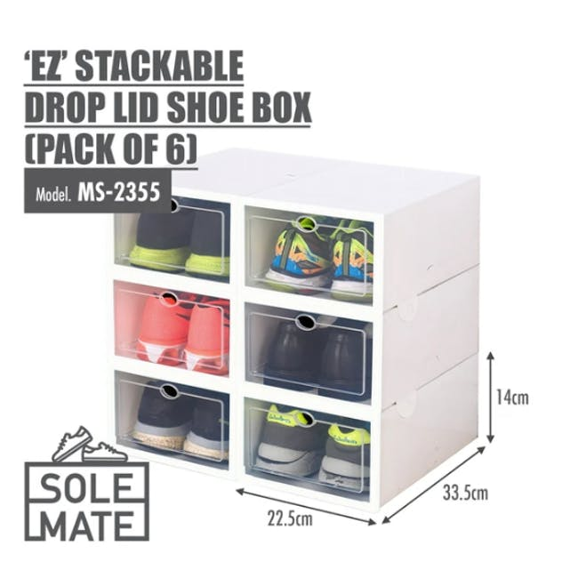 SoleMate 'EZ' Stackable Drop Lid Shoe Box (Pack of 6) - 5