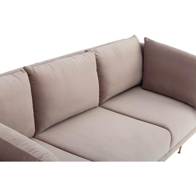 Esme 3 Seater Sofa - Blush (Velvet) - 6