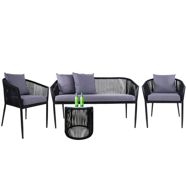 Kyoto Loveseat & 2 Armchair Set - Grey Cushion - 0
