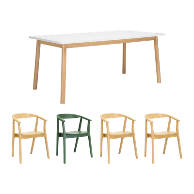 Kendall Dining Table 1.8m with 4 Greta Chairs - Image 1