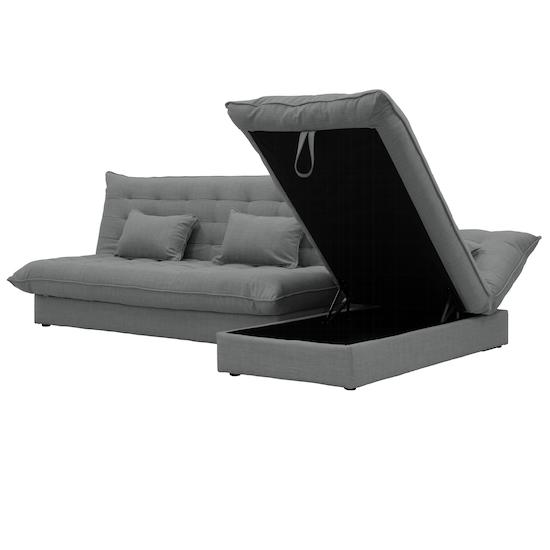 Tessa L-Shaped Storage Sofa Bed - Pigeon Grey