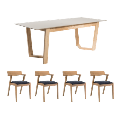 Meera Extendable Dining Table 1.6m with 4 Imogen Dining Chairs - Natural - Image 1