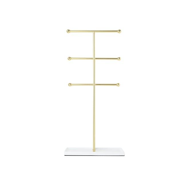 Trigem Jewelry Stand - White, Brass - 3