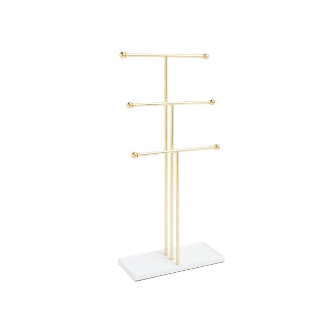Trigem Jewelry Stand - White, Brass - 0