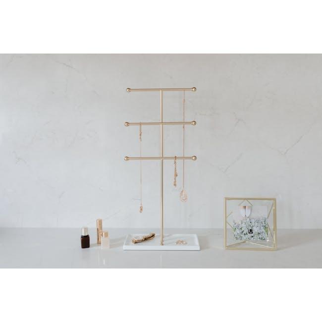 Trigem Jewelry Stand - White, Brass - 1