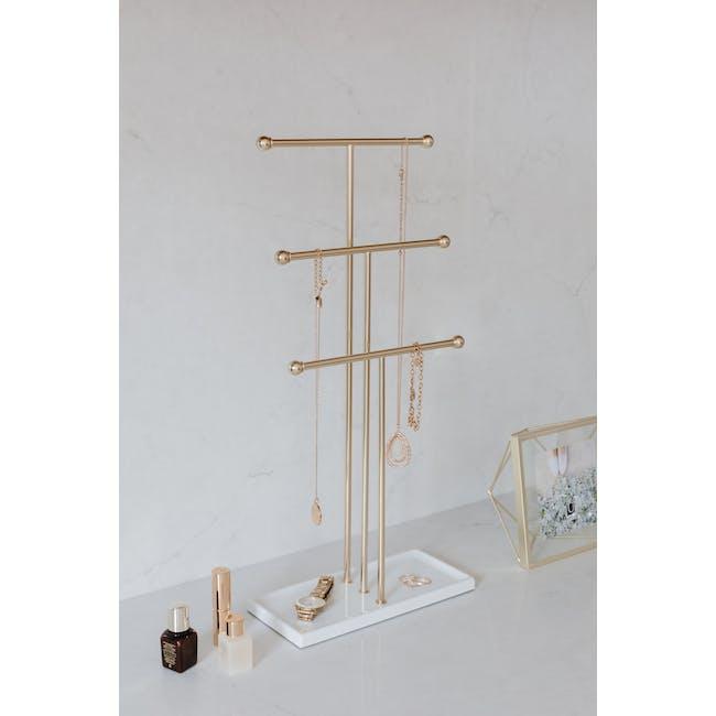Trigem Jewelry Stand - White, Brass - 2