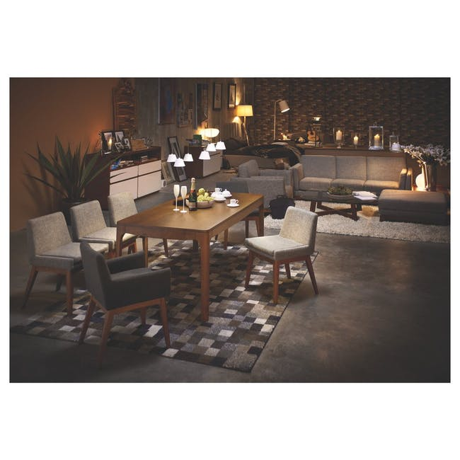 Clarkson Dining Table 2.2m in Cocoa with 4 Fabian Chairs in Cocoa, Dolphin Grey - 10