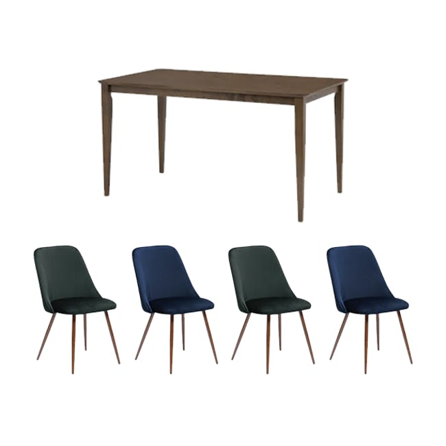 Charmant Dining Table 1.4m in Walnut with 4 Lana Dining Chairs in Velvet - 0