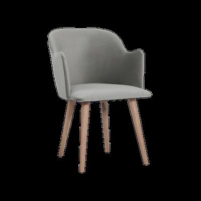 Anneli Dining Arm Chair - Oak, Grey (Velvet) - Image 2