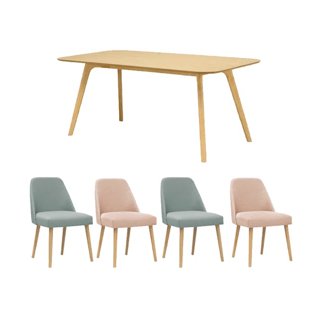 Roden Dining Table 1.8m in Natural with 4 Miranda Chairs in Sea Green and Pink - 0