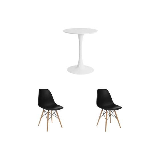 HipVan Bundles - Carmen Round Dining Table 0.6m with 2 DSW Chairs - Black
