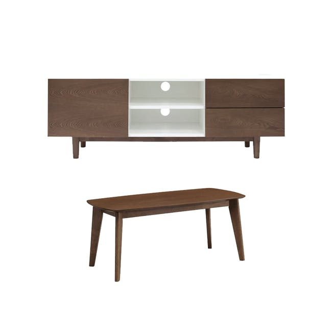 Aalto TV Cabinet 1.6m with Kyra High Coffee Table - Cocoa - 0