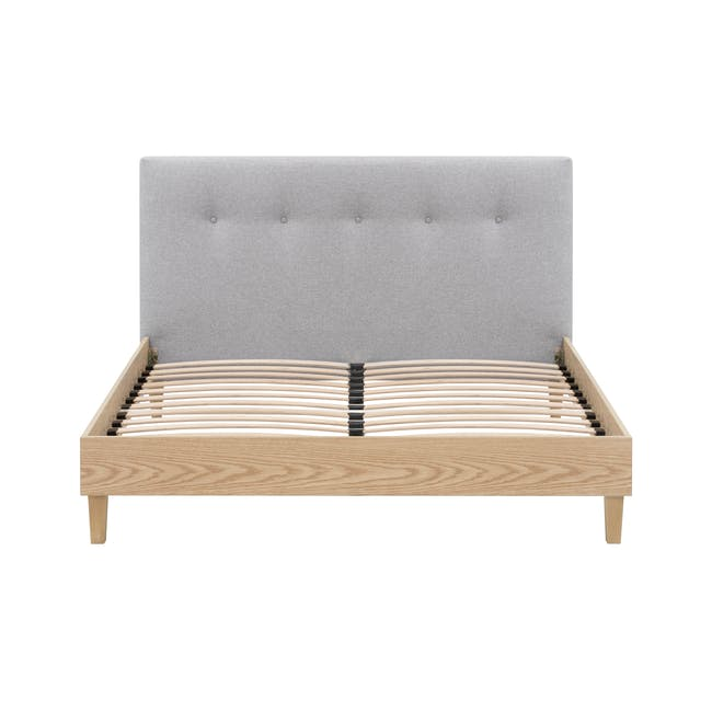 Landon Queen Bed with 2 Kyoto Bottom Drawer Bedside Table in Oak - 4