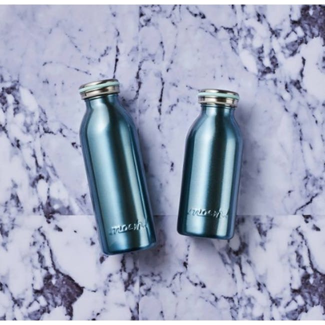 MOSH! Double-walled Stainless Steel Bottle 450ml -  Pearl Blue - 1