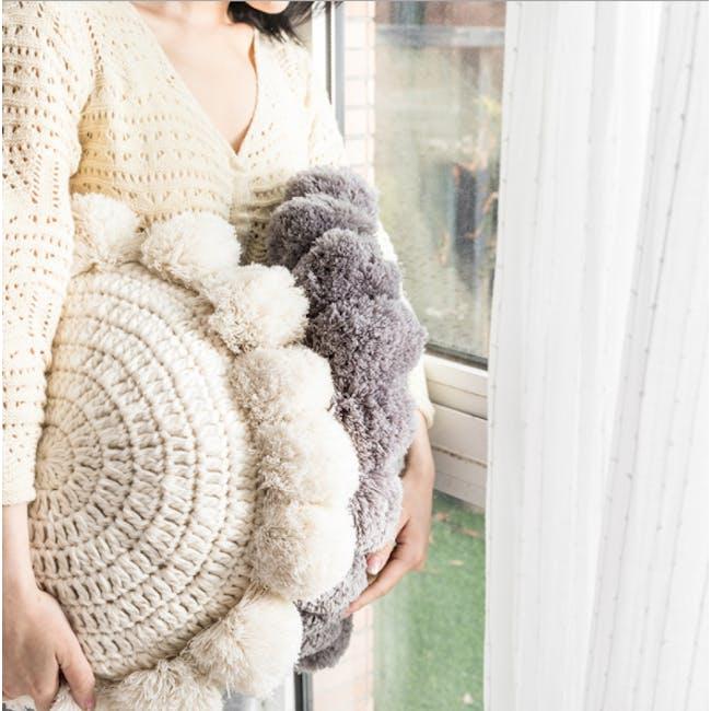 Tessa Round Knitted Cushion - Grey - 3