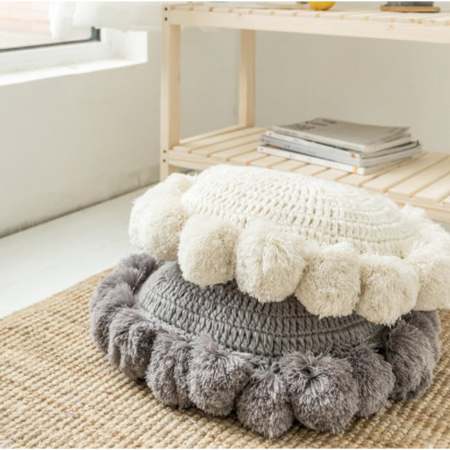 Tessa Round Knitted Cushion - Grey - 2