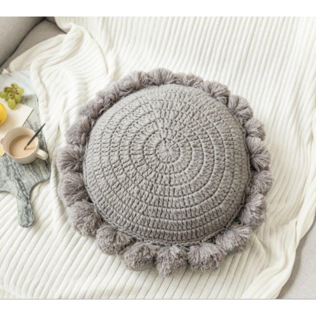 Tessa Round Knitted Cushion - Grey - 1