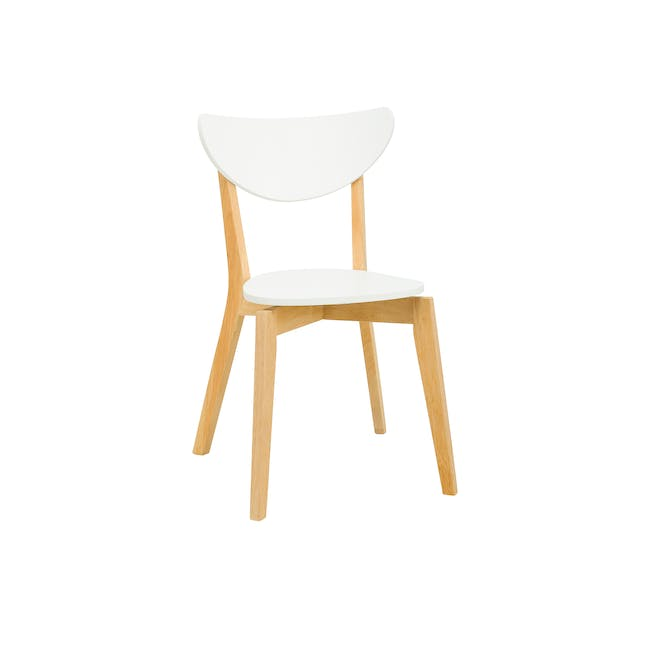 Carmen Round Dining Table 1m with 4 Harold Dining Chairs in White - 3