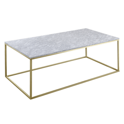 Amelia Marble Coffee Table with Amelia Marble Side Table - White, Champagne - Image 2