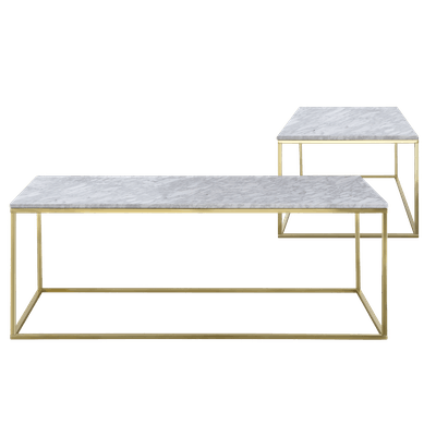 Amelia Marble Coffee Table with Amelia Marble Side Table - White, Champagne - Image 1