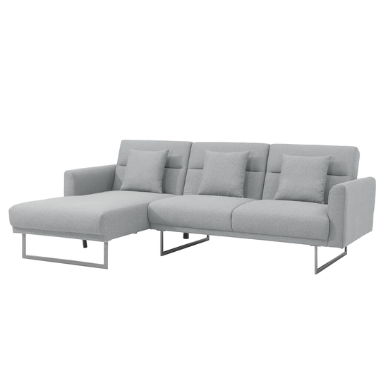 Stan L Shaped Sofa Bed Silver