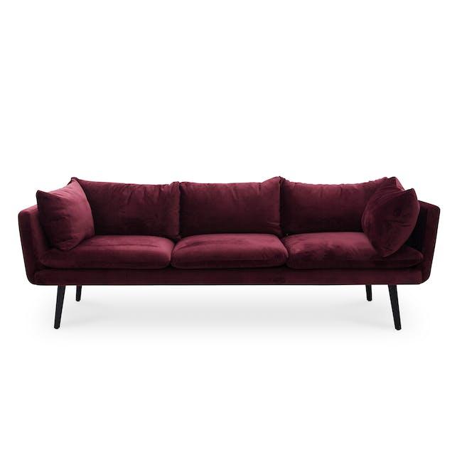 Sable 3 Seater Sofa - Ruby (Velvet) - 0
