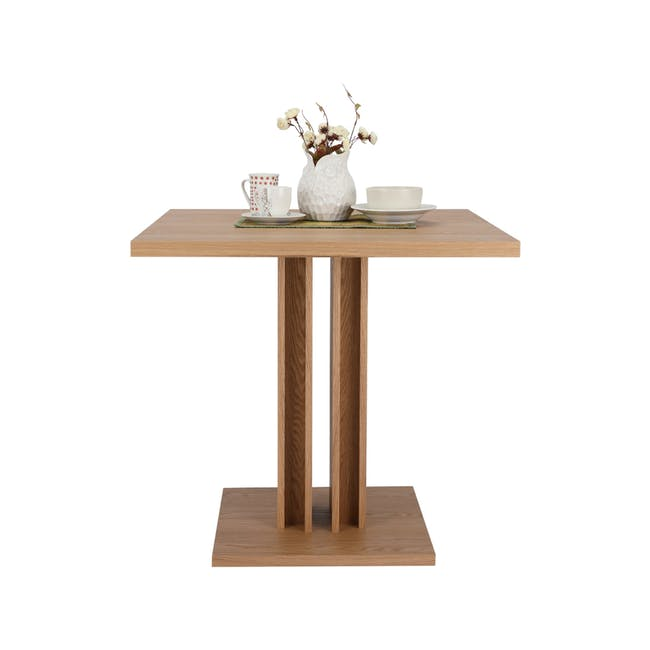 Colton Square Dining Table 0.8m with 2 DSW Chair Replica in Natural, White - 5