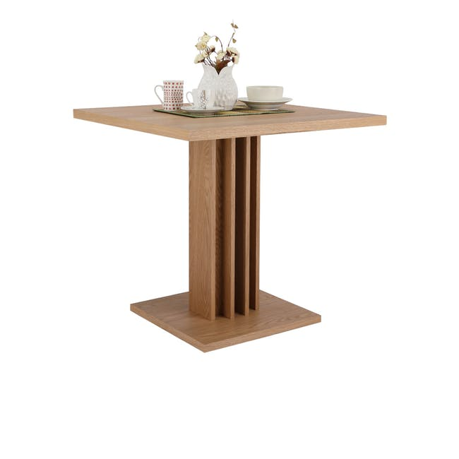 Colton Square Dining Table 0.8m with 2 DSW Chair Replica in Natural, White - 6