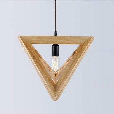 Medium Geometric Wood Pendant Lamp w/ Edison Bulb - Image 2