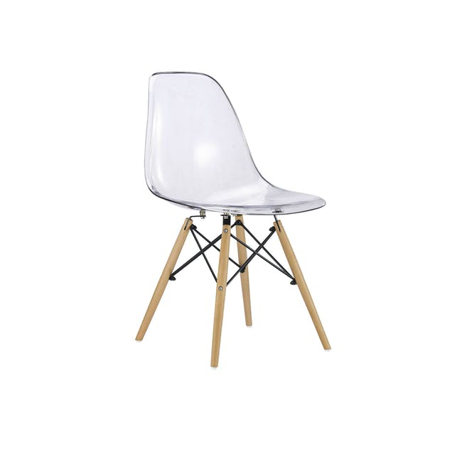 Jonah Extendable Table 0.8m in Oak with 2 DSW Chair Replica in Natural, Clear - 3