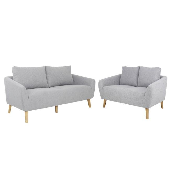 Hana 3 Seater Sofa with Hana 2 Seater Sofa - Light Grey - 0