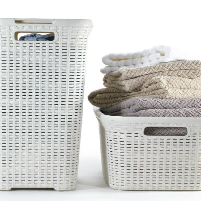 Rattan Style Rectangular Hamper with Lid - Off White - 1