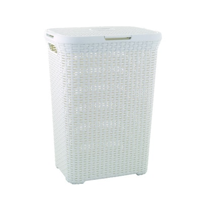 Rattan Style Rectangular Hamper - Off White