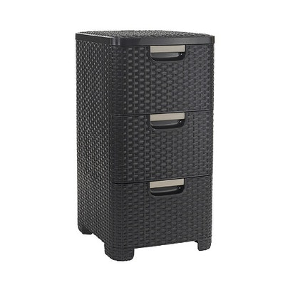 Rattan Style Drawer 3 - Dark Brown